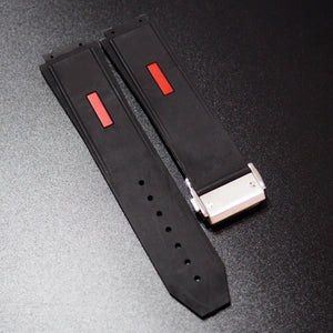 Black / Red Line Rubber Watch Strap With Clasp For Hublot Big Bang 45mm - Strapholic_錶帶工房, Rolex, IWC, Panerai, AP, Cartier, Tudor, Omega, Watch_Bands