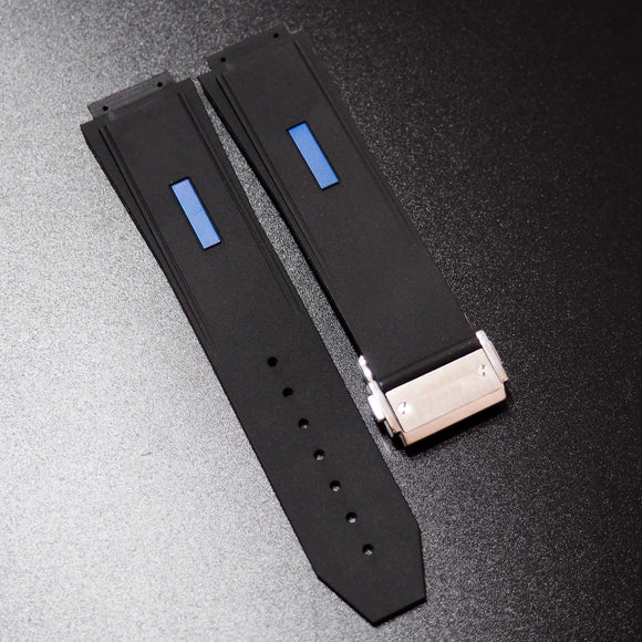 Black / Blue Line Rubber Watch Strap With Clasp For Hublot Big Bang 45mm - Strapholic_錶帶工房, Rolex, IWC, Panerai, AP, Cartier, Tudor, Omega, Watch_Bands