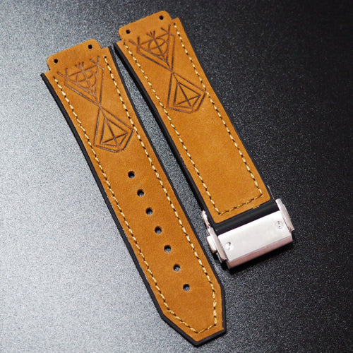Apricot Orange Diamond-Embossed Calf Leather Watch Strap With Clasp For Hublot Big Bang 44mm - Strapholic_錶帶工房, Rolex, IWC, Panerai, AP, Cartier, Tudor, Omega, Watch_Bands