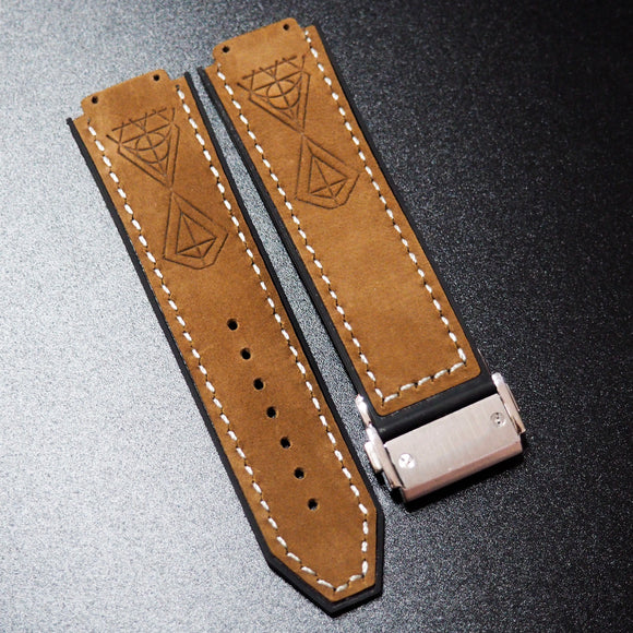 Brown Diamond-Embossed Calf Leather Watch Strap With Clasp For Hublot Big Bang 44mm - Strapholic_錶帶工房, Rolex, IWC, Panerai, AP, Cartier, Tudor, Omega, Watch_Bands