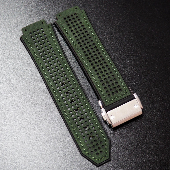 Rally Style Fern Green Calf Leather Watch Strap With Clasp For Hublot Big Bang 44mm - Strapholic_錶帶工房, Rolex, IWC, Panerai, AP, Cartier, Tudor, Omega, Watch_Bands
