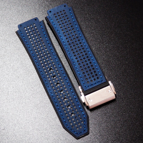 Rally Style Blue Calf Leather Watch Strap With Clasp For Hublot Big Bang 44mm - Strapholic_錶帶工房, Rolex, IWC, Panerai, AP, Cartier, Tudor, Omega, Watch_Bands