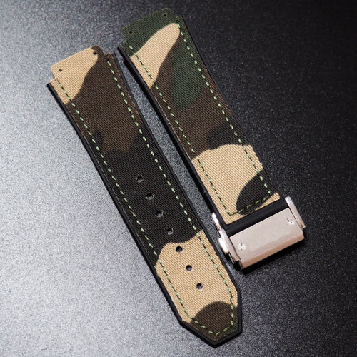 Green Camouflage Nylon Watch Strap With Clasp For Hublot Big Bang 44mm - Strapholic_錶帶工房, Rolex, IWC, Panerai, AP, Cartier, Tudor, Omega, Watch_Bands