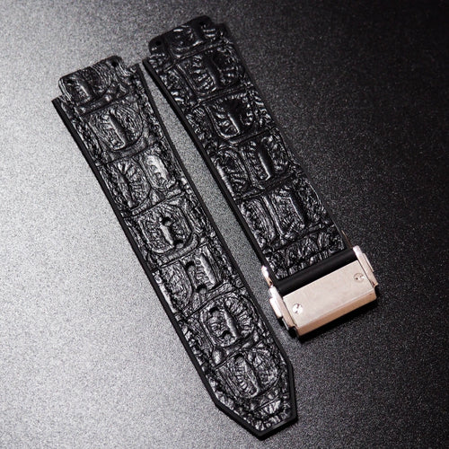 Black Alligator-Embossed Calf Leather Watch Strap With Clasp For Hublot Big Bang 44mm - Strapholic_錶帶工房, Rolex, IWC, Panerai, AP, Cartier, Tudor, Omega, Watch_Bands