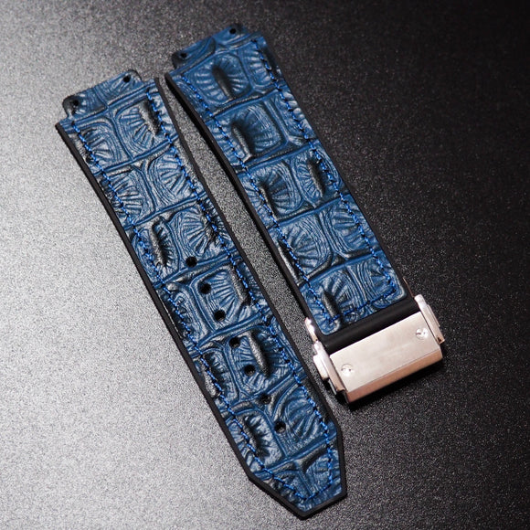 Blue Alligator-Embossed Calf Leather Watch Strap With Clasp For Hublot Big Bang 44mm - Strapholic_錶帶工房, Rolex, IWC, Panerai, AP, Cartier, Tudor, Omega, Watch_Bands