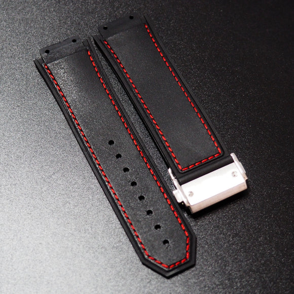Black / Red Stitching Rubber Watch Strap With Clasp For Hublot Big Bang King Power F1 - Strapholic_錶帶工房, Rolex, IWC, Panerai, AP, Cartier, Tudor, Omega, Watch_Bands