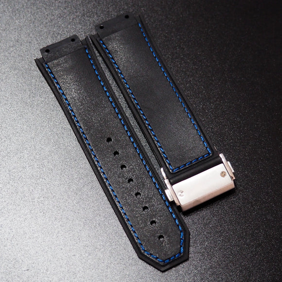 Black / Blue Stitching Rubber Watch Strap With Clasp For Hublot Big Bang King Power F1 - Strapholic_錶帶工房, Rolex, IWC, Panerai, AP, Cartier, Tudor, Omega, Watch_Bands