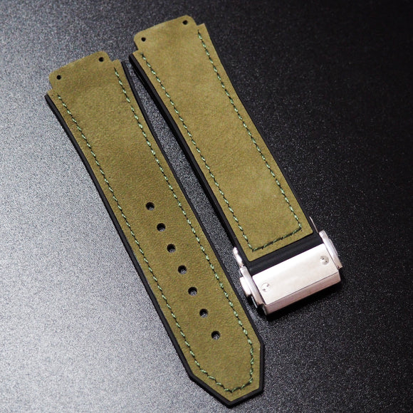 Olive Green Calf Leather Watch Strap With Clasp For Hublot Big Bang 44mm - Strapholic_錶帶工房, Rolex, IWC, Panerai, AP, Cartier, Tudor, Omega, Watch_Bands