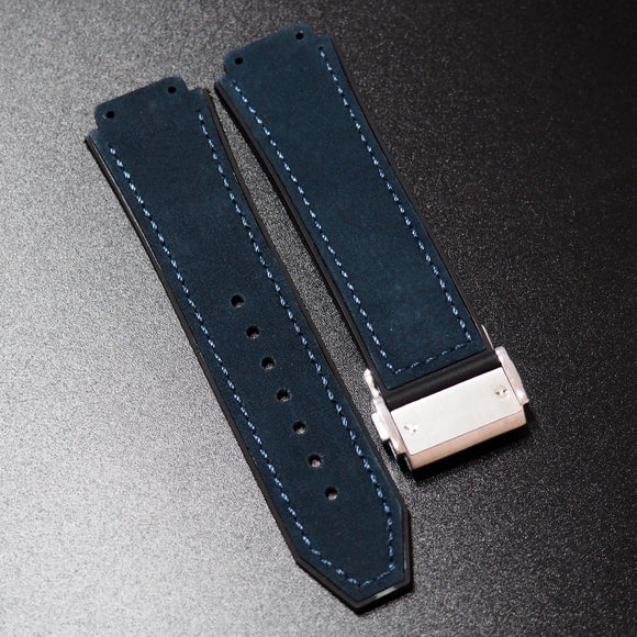 Prussian Blue Calf Leather Watch Strap With Clasp For Hublot Big Bang 44mm - Strapholic_錶帶工房, Rolex, IWC, Panerai, AP, Cartier, Tudor, Omega, Watch_Bands