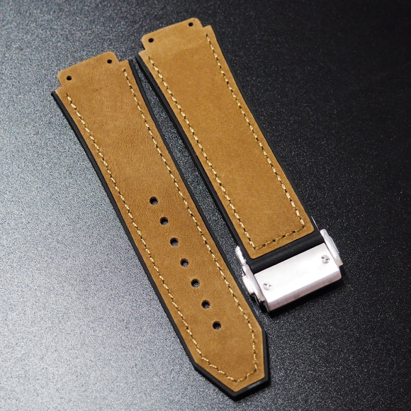 Brown Calf Leather Watch Strap With Clasp For Hublot Big Bang 44mm - Strapholic_錶帶工房, Rolex, IWC, Panerai, AP, Cartier, Tudor, Omega, Watch_Bands