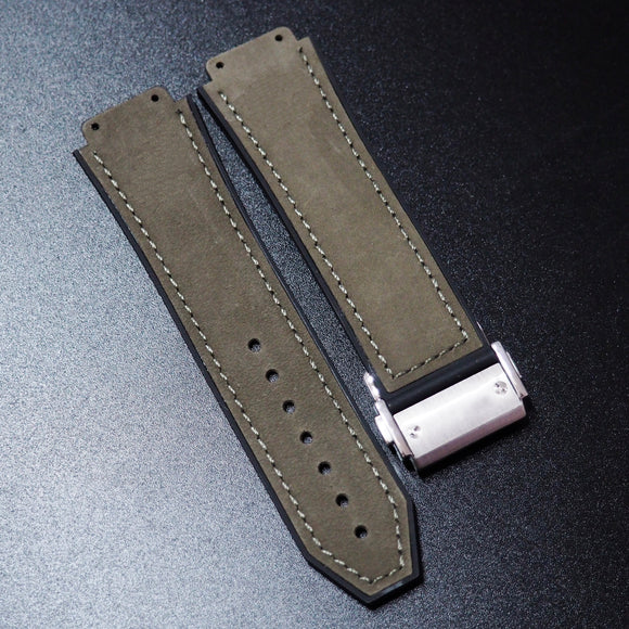 Deep Grey Calf Leather Watch Strap With Clasp For Hublot Big Bang 44mm - Strapholic_錶帶工房, Rolex, IWC, Panerai, AP, Cartier, Tudor, Omega, Watch_Bands