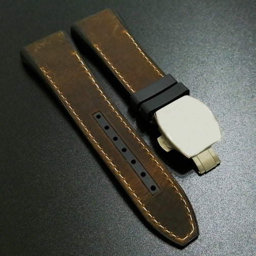 Frank Muller Style Brown Calf Leather / Rubber Watch Strap with Deployment Clasp - Strapholic_錶帶工房, Rolex, IWC, Panerai, AP, Cartier, Tudor, Omega, Watch_Bands