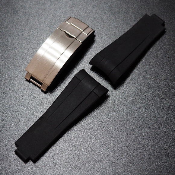 Premium Black Rubber Watch Strap With Curved Ends & Clasp For Rolex Sport Models