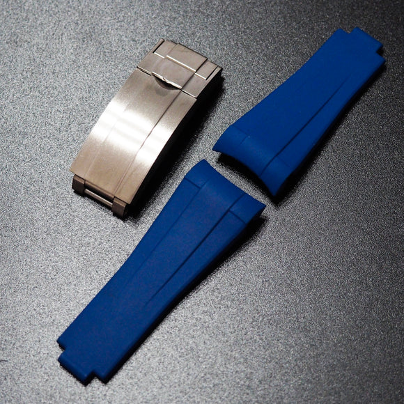 Premium Blue Rubber Watch Strap With Curved Ends & Clasp For Rolex Sport Models