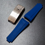 Premium Blue Rubber Watch Strap With Curved Ends & Clasp For Rolex Sport Models - Strapholic_錶帶工房, Rolex, IWC, Panerai, AP, Cartier, Tudor, Omega, Watch_Bands
