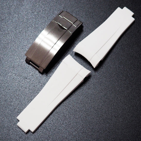 Premium White Rubber Watch Strap With Curved Ends & Clasp For Rolex Sport Models