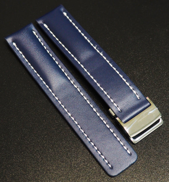 Breitling Style Blue Calf Leather Watch Strap - Strapholic_錶帶工房, Rolex, IWC, Panerai, AP, Cartier, Tudor, Omega, Watch_Bands