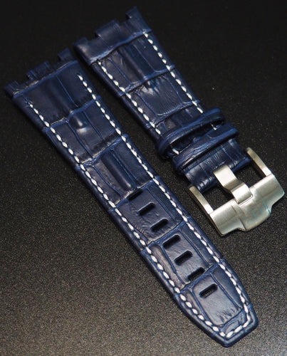 Deep Blue Alligator-Embossed Calf Leather White Stitching Watch Strap For Audemars Piguet Royal Oak Offshore - Strapholic_錶帶工房, Rolex, IWC, Panerai, AP, Cartier, Tudor, Omega, Watch_Bands