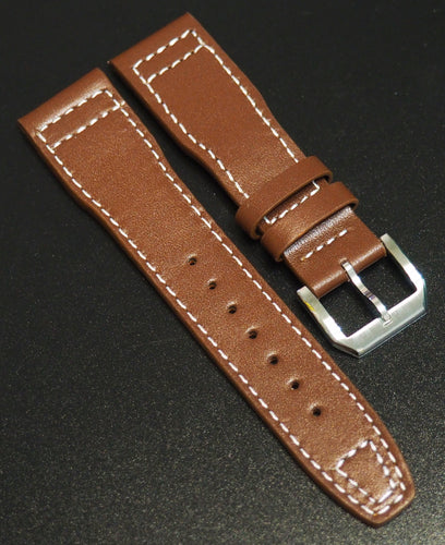 IWC Aviation Style Brown Calf Leather Watch Strap - Strapholic_錶帶工房, Rolex, IWC, Panerai, AP, Cartier, Tudor, Omega, Watch_Bands
