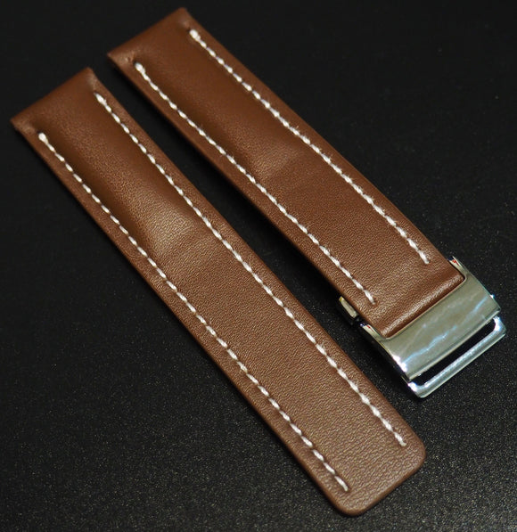 Breitling Style Brown Calf Leather Watch Strap - Strapholic_錶帶工房, Rolex, IWC, Panerai, AP, Cartier, Tudor, Omega, Watch_Bands