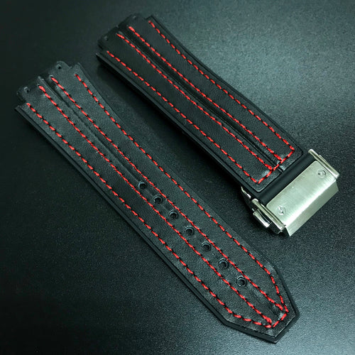 Black Calf Leather / Red Stitching Watch Strap With Clasp For Hublot Big Bang 44mm - Strapholic_錶帶工房, Rolex, IWC, Panerai, AP, Cartier, Tudor, Omega, Watch_Bands