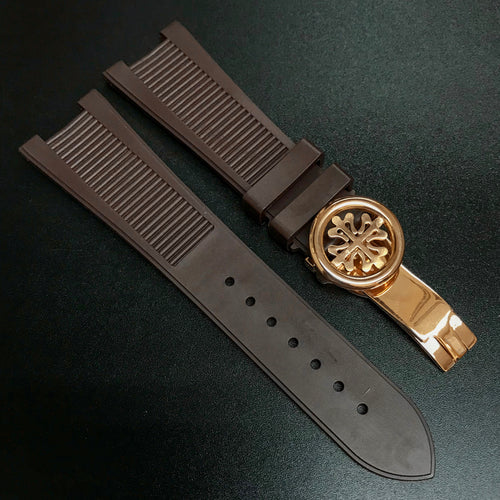 Patek Philippe Style Brown Rubber Watch Strap For PP Nautilus - Strapholic_錶帶工房, Rolex, IWC, Panerai, AP, Cartier, Tudor, Omega, Watch_Bands