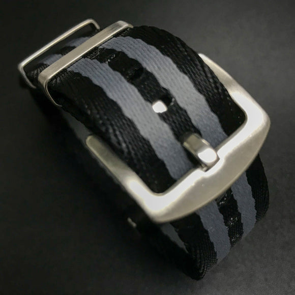 Black / Gray Nato Style High Quality Nylon Watch Strap - Strapholic_錶帶工房, Rolex, IWC, Panerai, AP, Cartier, Tudor, Omega, Watch_Bands