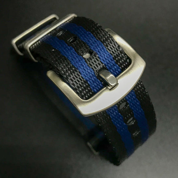 Blue / Dark Gray Nato Style High Quality Nylon Watch Strap - Strapholic_錶帶工房, Rolex, IWC, Panerai, AP, Cartier, Tudor, Omega, Watch_Bands