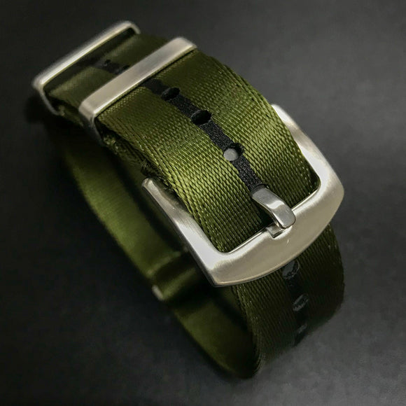 Green / Black Nato Style High Quality Nylon Watch Strap - Strapholic_錶帶工房, Rolex, IWC, Panerai, AP, Cartier, Tudor, Omega, Watch_Bands