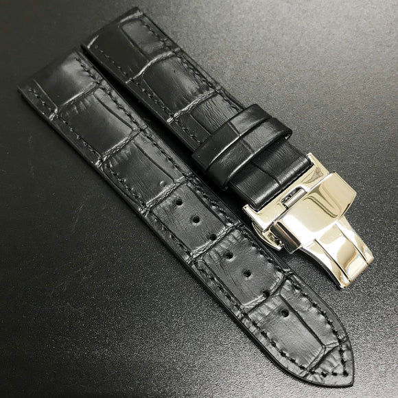 Performance Style Black Alligator-Embossed Calf Leather Watch Strap w/ Butterfly Deployment Buckle Clasp - Strapholic_錶帶工房, Rolex, IWC, Panerai, AP, Cartier, Tudor, Omega, Watch_Bands