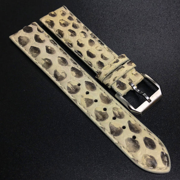 White / Black Snake Leather Watch Strap - Strapholic_錶帶工房, Rolex, IWC, Panerai, AP, Cartier, Tudor, Omega, Watch_Bands