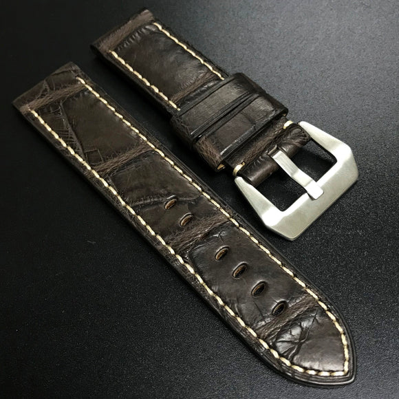Premium Chocolate Brown Alligator Leather Watch Strap For Panerai - Strapholic_錶帶工房, Rolex, IWC, Panerai, AP, Cartier, Tudor, Omega, Watch_Bands