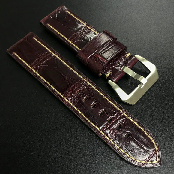 Premium Eggplant Violet Alligator Leather Watch Strap For Panerai - Strapholic_錶帶工房, Rolex, IWC, Panerai, AP, Cartier, Tudor, Omega, Watch_Bands