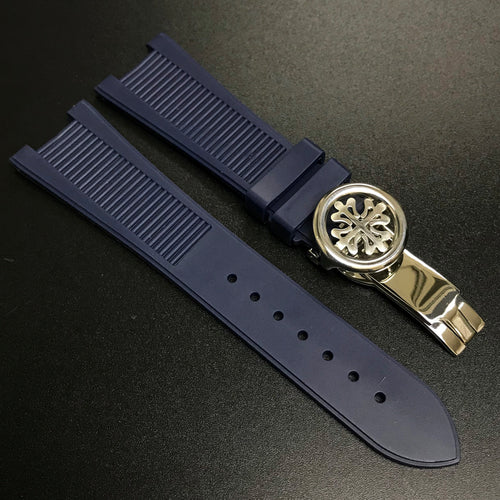 Patek Philippe Style Blue Rubber Watch Strap For PP Nautilus - Strapholic_錶帶工房, Rolex, IWC, Panerai, AP, Cartier, Tudor, Omega, Watch_Bands
