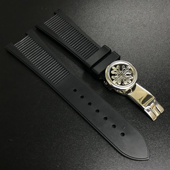 Patek Philippe Style Black Rubber Watch Strap For PP Nautilus - Strapholic_錶帶工房, Rolex, IWC, Panerai, AP, Cartier, Tudor, Omega, Watch_Bands