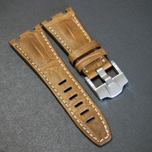 Premium Ochre Orange Alligator Leather Watch Strap - Strapconcept_錶帶工房, Rolex_Leather, IWC_Strap, Panerai_Strap, AP_Rubber, Cartier_Leather, Tudor_Nato, Omega_Rubber, Watch_Straps