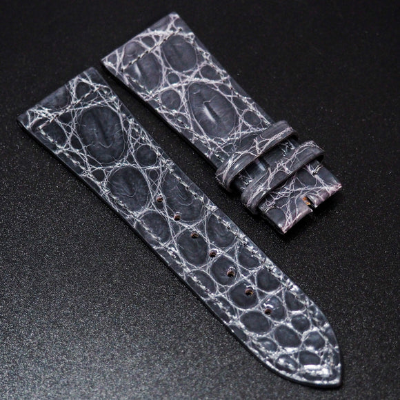 Frank Muller Style Shadow Gray Alligator Leather Watch Strap - Strapholic_錶帶工房, Rolex, IWC, Panerai, AP, Cartier, Tudor, Omega, Watch_Bands