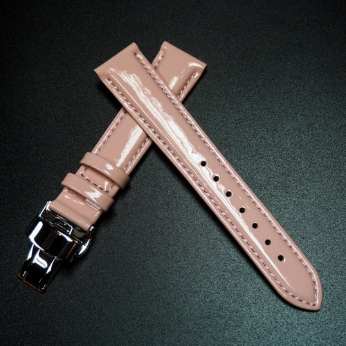 Pink Patent Leather Watch Strap w/ Butterfly Deployment Buckle Clasp - Strapconcept_錶帶工房, Rolex_Leather, IWC_Strap, Panerai_Strap, AP_Rubber, Cartier_Leather, Tudor_Nato, Omega_Rubber, Watch_Straps
