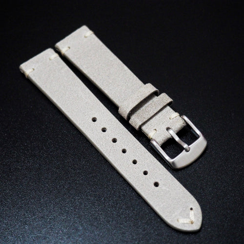 Vintage Style Nostalgic Gray Italian Calf Leather Watch Strap - Strapholic_錶帶工房, Rolex, IWC, Panerai, AP, Cartier, Tudor, Omega, Watch_Bands