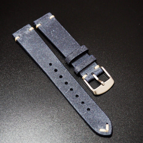 Vintage Style Nostalgic Blue Italian Calf Leather Watch Strap - Strapholic_錶帶工房, Rolex, IWC, Panerai, AP, Cartier, Tudor, Omega, Watch_Bands