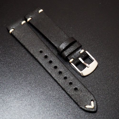 Vintage Style Black Italian Calf Leather Watch Strap - Strapholic_錶帶工房, Rolex, IWC, Panerai, AP, Cartier, Tudor, Omega, Watch_Bands
