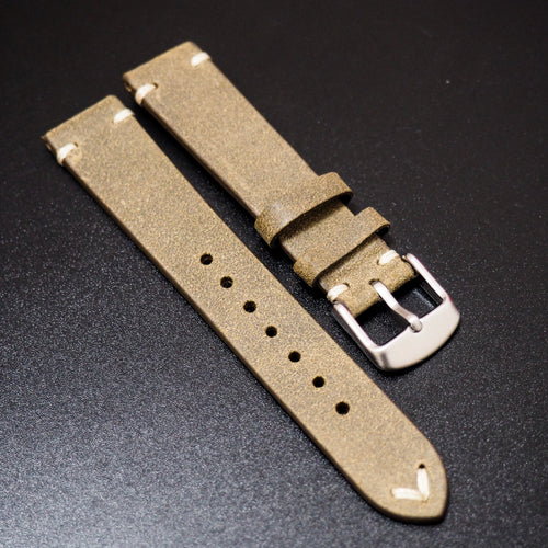 Vintage Style Nostalgic Olive Green Italian Calf Leather Watch Strap - Strapconcept_錶帶工房, Rolex_Leather, IWC_Strap, Panerai_Strap, AP_Rubber, Cartier_Leather, Tudor_Nato, Omega_Rubber, Watch_Straps