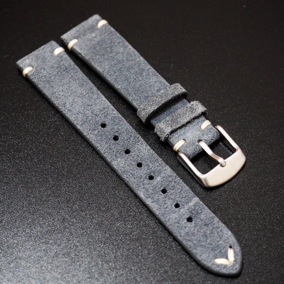 Vintage Style Independence Blue Italian Calf Leather Watch Strap - Strapholic_錶帶工房, Rolex, IWC, Panerai, AP, Cartier, Tudor, Omega, Watch_Bands