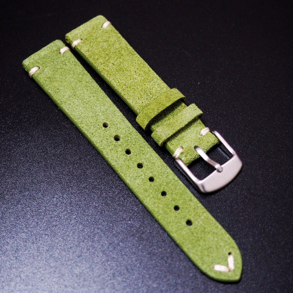 Vintage Style Kelly Green Italian Calf Leather Watch Strap - Strapholic_錶帶工房, Rolex, IWC, Panerai, AP, Cartier, Tudor, Omega, Watch_Bands