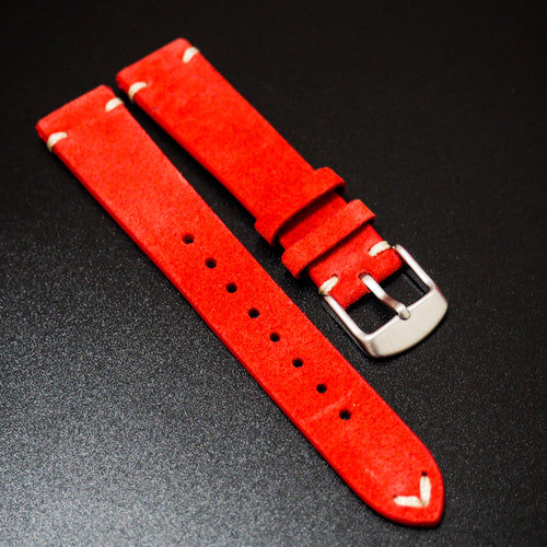 Vintage Style Red Italian Calf Leather Watch Strap - Strapholic_錶帶工房, Rolex, IWC, Panerai, AP, Cartier, Tudor, Omega, Watch_Bands