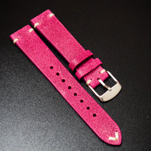 Vintage Style Nostalgic Hot Pink Italian Calf Leather Watch Strap - Strapholic_錶帶工房, Rolex, IWC, Panerai, AP, Cartier, Tudor, Omega, Watch_Bands