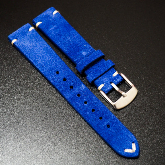 Vintage Style Blue Italian Calf Leather Watch Strap - Strapholic_錶帶工房, Rolex, IWC, Panerai, AP, Cartier, Tudor, Omega, Watch_Bands