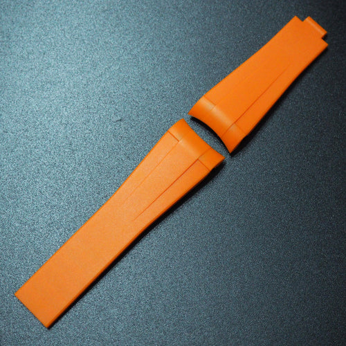 Orange Vulcanized Rubber Watch Strap With Curved Ends For Rolex - Strapholic_錶帶工房, Rolex, IWC, Panerai, AP, Cartier, Tudor, Omega, Watch_Bands