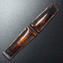 Black / Orange Cordovan Leather Watch Strap With Clasp For Rolex - Strapholic_錶帶工房, Rolex, IWC, Panerai, AP, Cartier, Tudor, Omega, Watch_Bands