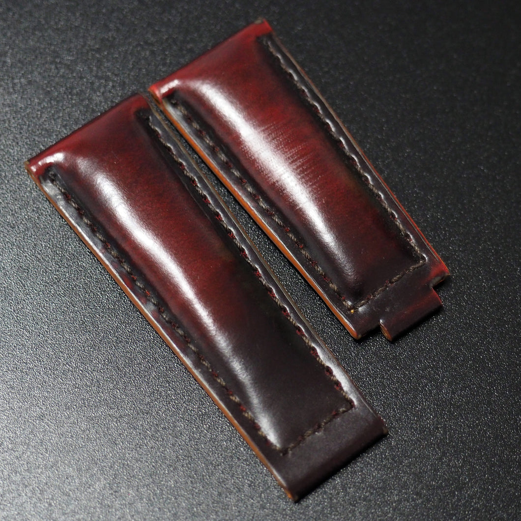 Black / Red Cordovan Leather Watch Strap With Clasp For Rolex - Strapholic_錶帶工房, Rolex, IWC, Panerai, AP, Cartier, Tudor, Omega, Watch_Bands